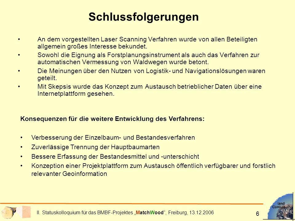 II. Statuskolloquium für das BMBF-Projektes MatchWood, Freiburg, 13.12.2006 6 Schlussfolgerungen An dem vorgestellten Laser Scanning Verfahren wurde v