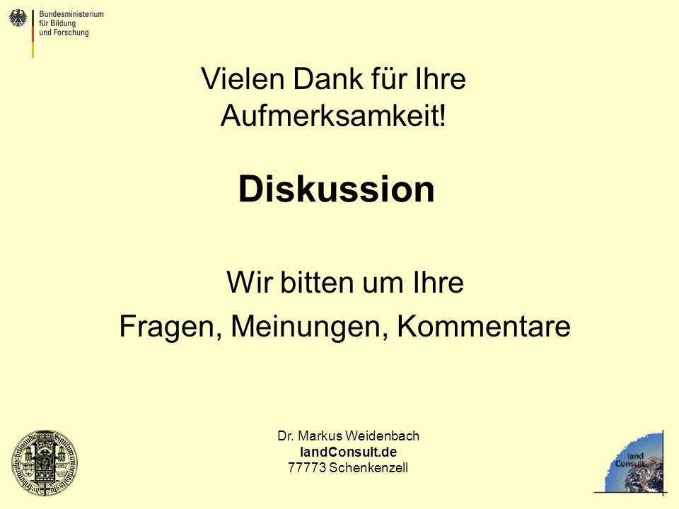 Dr. Markus Weidenbach landConsult.de 77773 Schenkenzell Diskussion Wir bitten um Ihre Fragen, Meinungen, Kommentare Vielen Dank für Ihre Aufmerksamkei