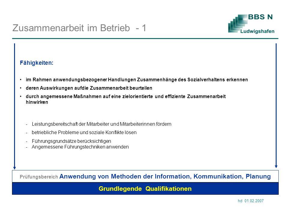 hd 01.02.2007 Zusammenarbeit im Betrieb - 1 Grundlegende Qualifikationen im Rahmen anwendungsbezogener Handlungen Zusammenhänge des Sozialverhaltens e