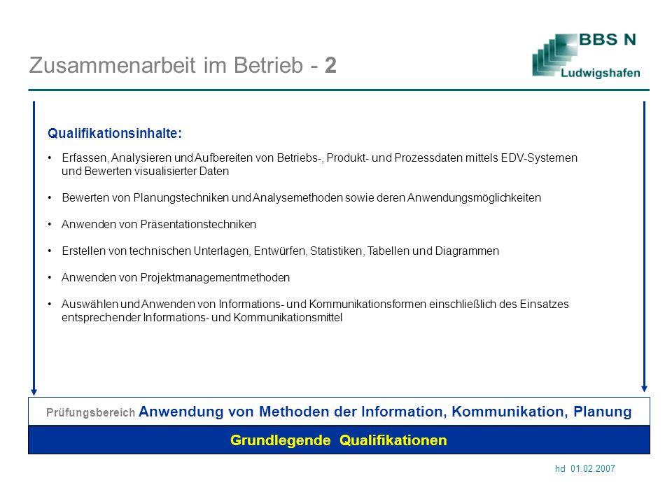 hd 01.02.2007 Zusammenarbeit im Betrieb - 2 Grundlegende Qualifikationen Prüfungsbereich Anwendung von Methoden der Information, Kommunikation, Planun