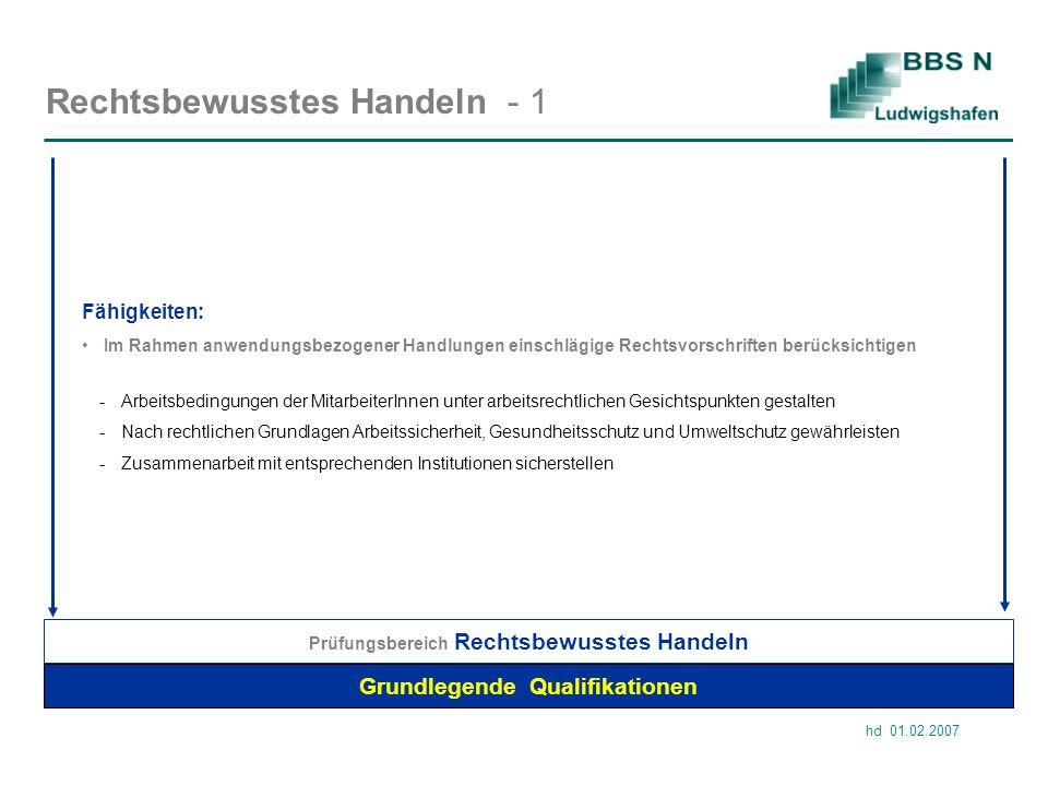 hd 01.02.2007 Rechtsbewusstes Handeln - 1 Grundlegende Qualifikationen Im Rahmen anwendungsbezogener Handlungen einschlägige Rechtsvorschriften berück