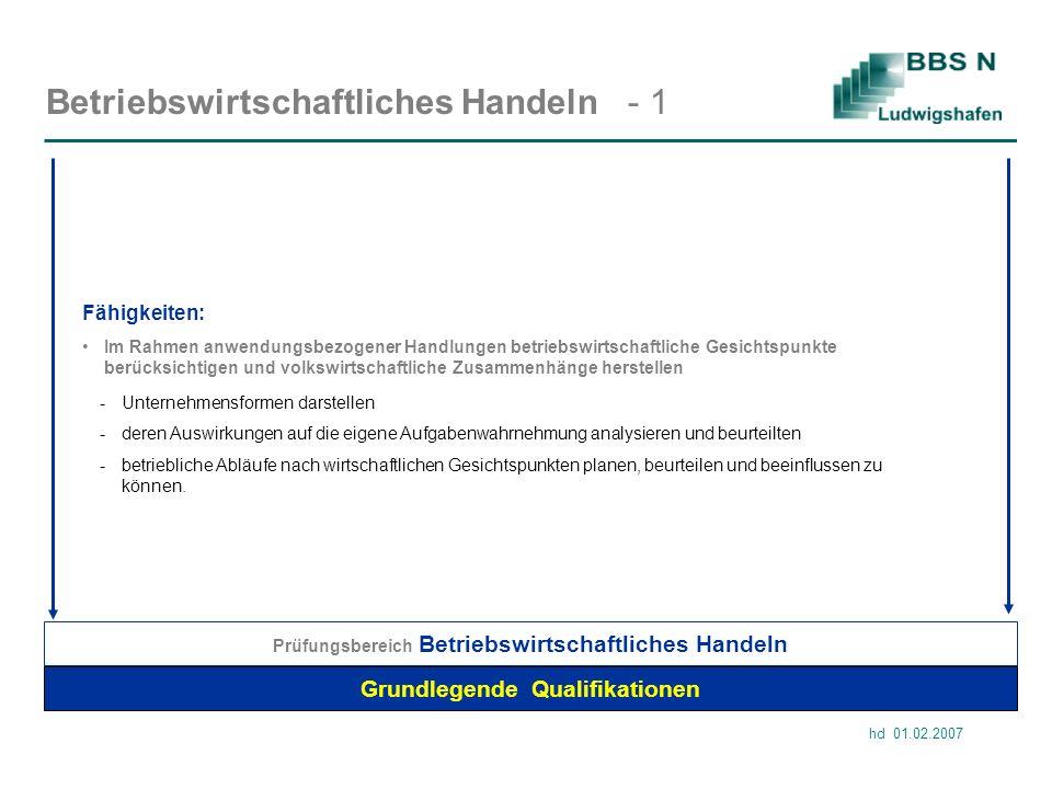 hd 01.02.2007 Betriebswirtschaftliches Handeln - 1 Grundlegende Qualifikationen Im Rahmen anwendungsbezogener Handlungen betriebswirtschaftliche Gesic
