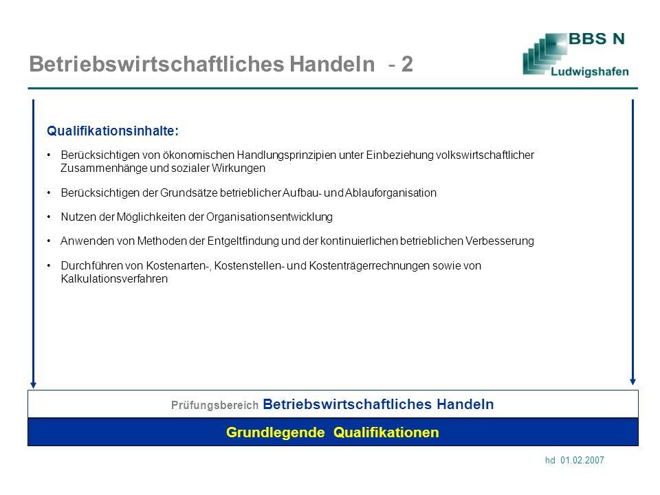 hd 01.02.2007 Betriebswirtschaftliches Handeln - 2 Grundlegende Qualifikationen Prüfungsbereich Betriebswirtschaftliches Handeln Anwenden von Methoden