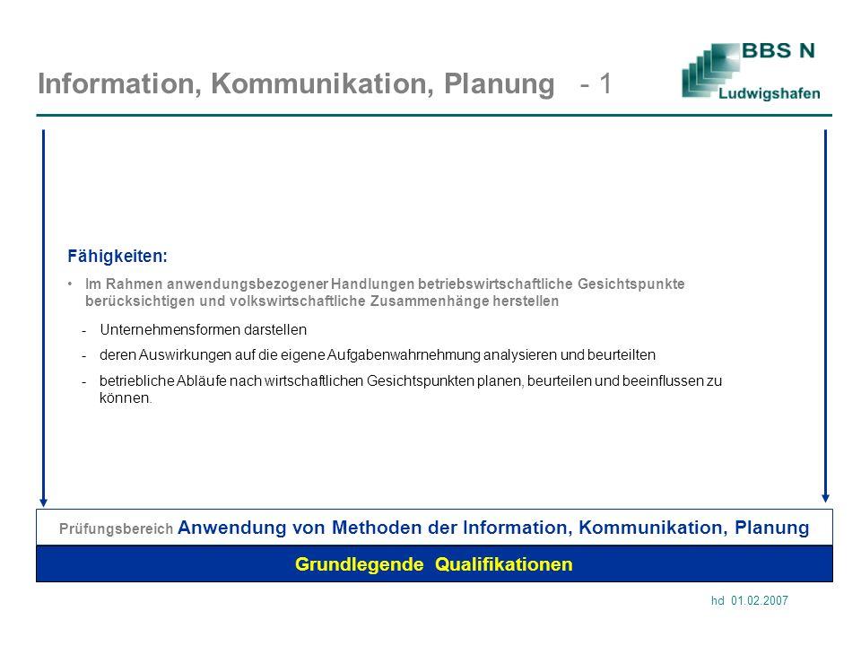 hd 01.02.2007 Information, Kommunikation, Planung - 1 Grundlegende Qualifikationen Im Rahmen anwendungsbezogener Handlungen betriebswirtschaftliche Ge