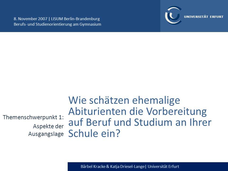 Bärbel Kracke &Katja Driesel-Lange| Universität Erfurt UNIVERSITÄT ERFURT Fazit Gymnasiasten sind in Bezug auf ihre nachschulischen Pläne eine recht heterogene Gruppe Individualisierung der Betreuung.