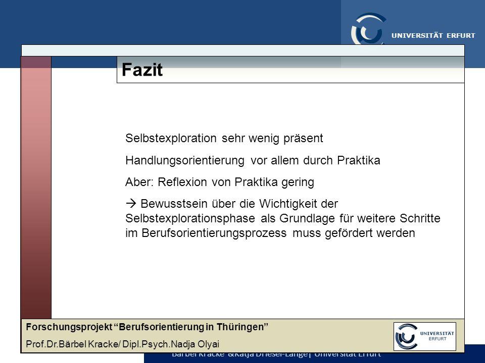 Bärbel Kracke &Katja Driesel-Lange  Universität Erfurt UNIVERSITÄT ERFURT Fazit Selbstexploration sehr wenig präsent Handlungsorientierung vor allem d