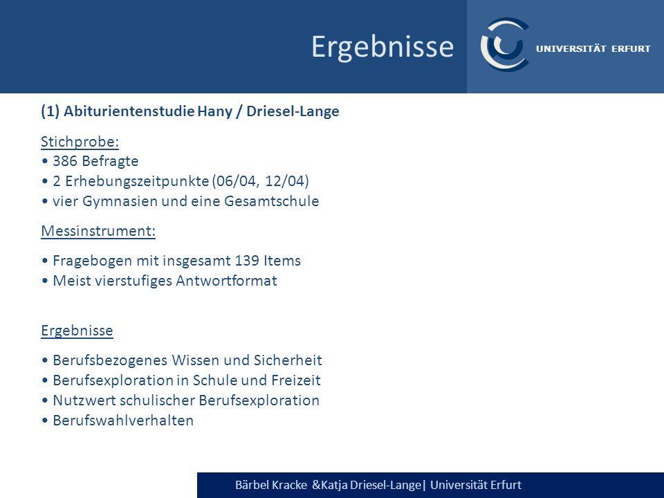 Bärbel Kracke &Katja Driesel-Lange  Universität Erfurt UNIVERSITÄT ERFURT Ergebnisse (1) Abiturientenstudie Hany / Driesel-Lange Stichprobe: 386 Befra