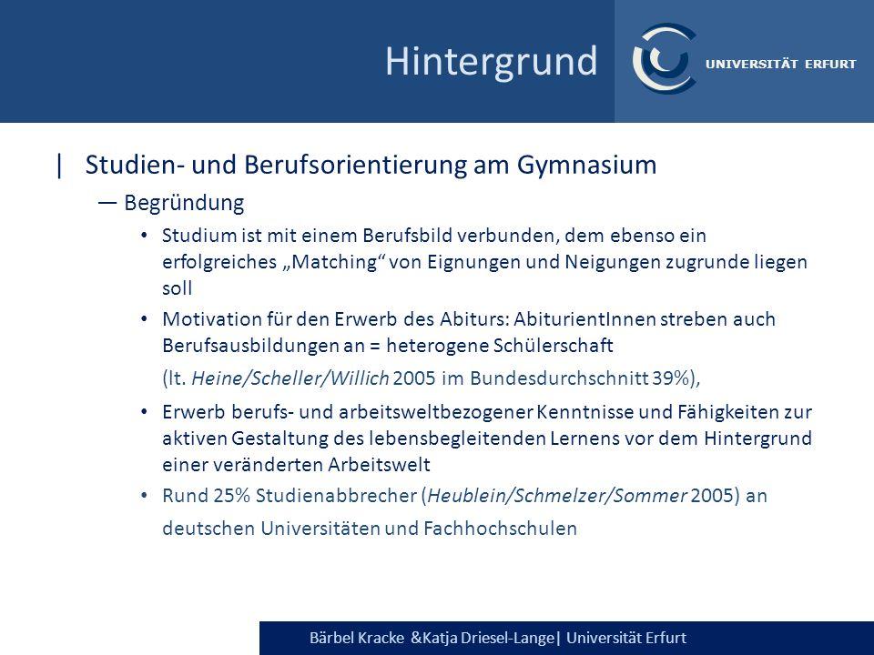 Bärbel Kracke &Katja Driesel-Lange  Universität Erfurt UNIVERSITÄT ERFURT Hintergrund  Studien- und Berufsorientierung am Gymnasium Begründung Studium