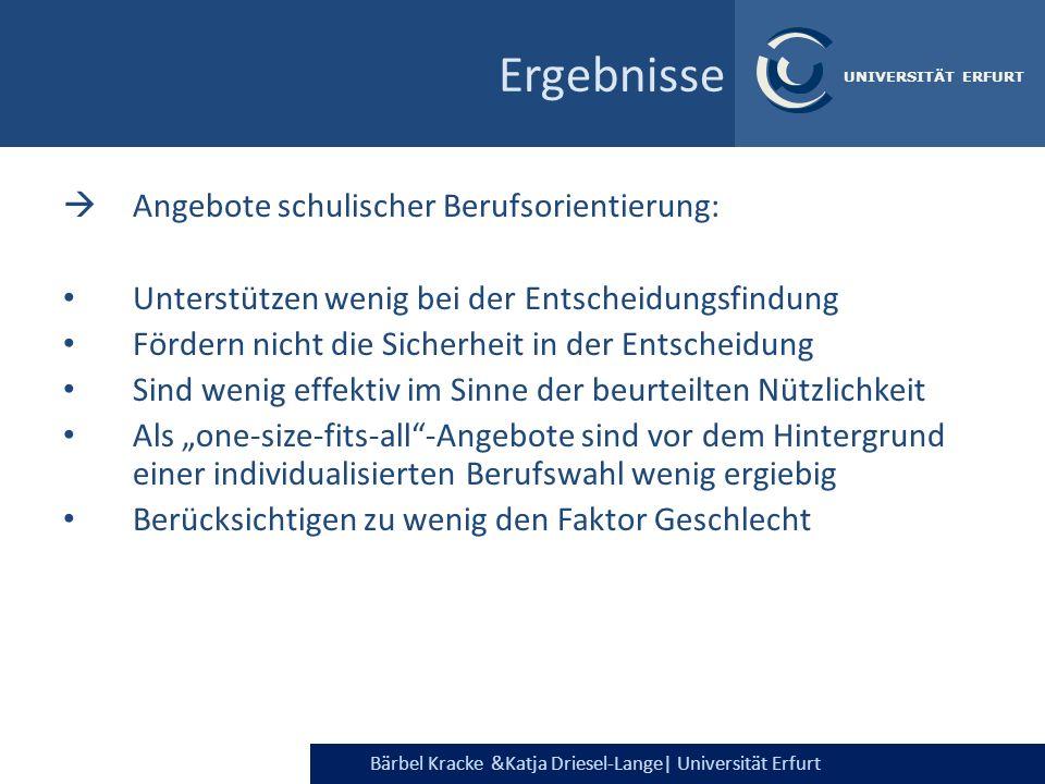 Bärbel Kracke &Katja Driesel-Lange  Universität Erfurt UNIVERSITÄT ERFURT Angebote schulischer Berufsorientierung: Unterstützen wenig bei der Entschei