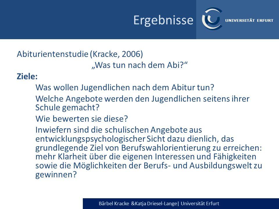Bärbel Kracke &Katja Driesel-Lange  Universität Erfurt UNIVERSITÄT ERFURT Abiturientenstudie (Kracke, 2006) Was tun nach dem Abi? Ziele: Was wollen Ju