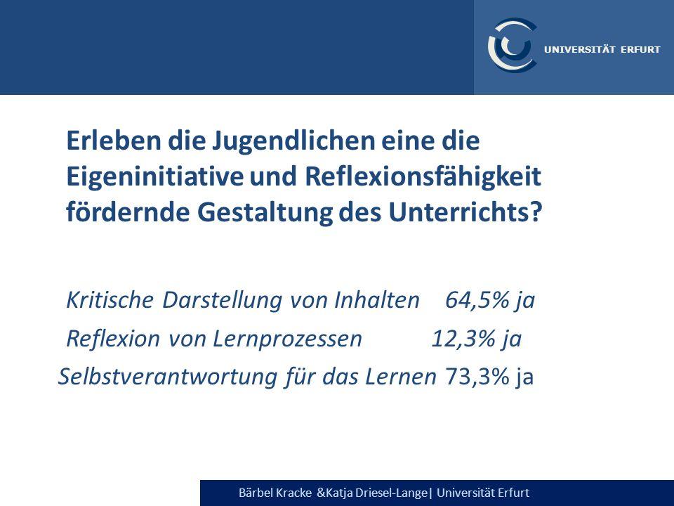 Bärbel Kracke &Katja Driesel-Lange  Universität Erfurt UNIVERSITÄT ERFURT Erleben die Jugendlichen eine die Eigeninitiative und Reflexionsfähigkeit fö