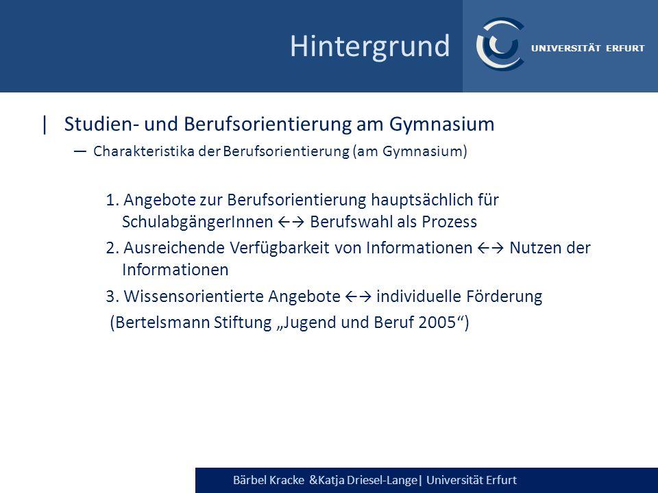 Bärbel Kracke &Katja Driesel-Lange| Universität Erfurt UNIVERSITÄT ERFURT Intensität der Informationssuche (Gespräche, Informationsmaterial, nachdenken über sich selbst) Mädchen (86%) > Jungen (78%)