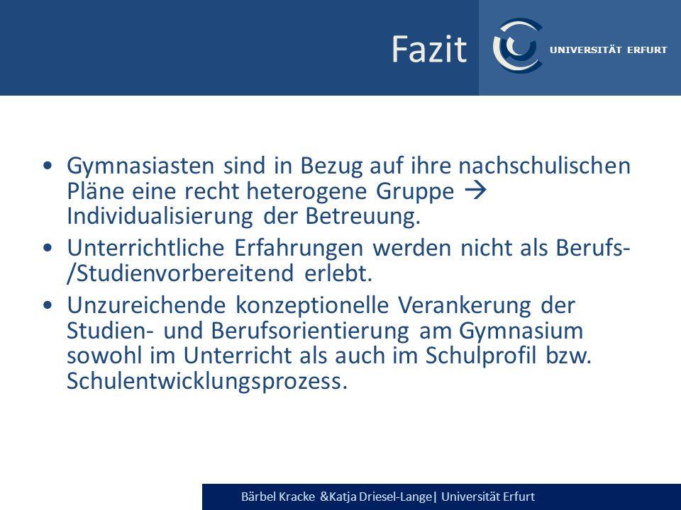 Bärbel Kracke &Katja Driesel-Lange  Universität Erfurt UNIVERSITÄT ERFURT Fazit Gymnasiasten sind in Bezug auf ihre nachschulischen Pläne eine recht h