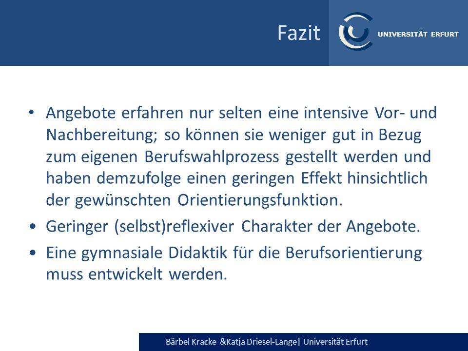 Bärbel Kracke &Katja Driesel-Lange  Universität Erfurt UNIVERSITÄT ERFURT Fazit Angebote erfahren nur selten eine intensive Vor- und Nachbereitung; so