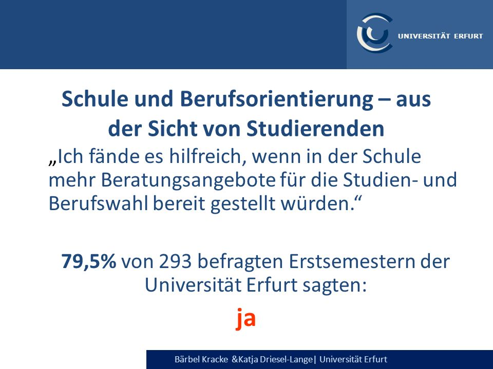 Bärbel Kracke &Katja Driesel-Lange| Universität Erfurt UNIVERSITÄT ERFURT Nützlichkeit wird unterschiedlich eingeschätzt je nach nachschulischen Zielen: BIZ Berufsinfotage Ausbildung: 64% 75% Studium: 44% 56%