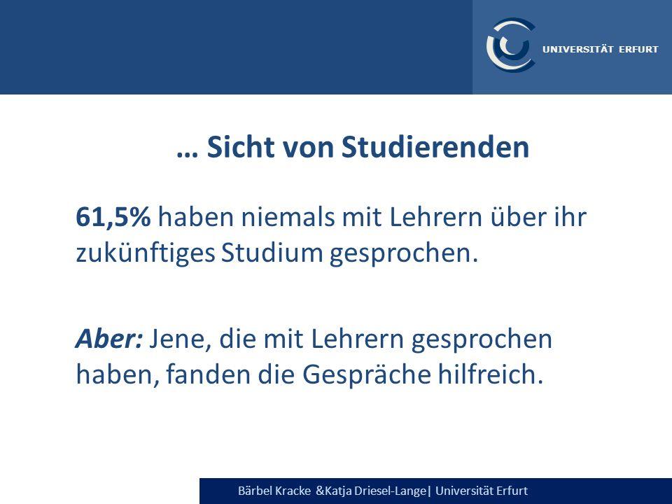 Bärbel Kracke &Katja Driesel-Lange  Universität Erfurt UNIVERSITÄT ERFURT … Sicht von Studierenden 61,5% haben niemals mit Lehrern über ihr zukünftige