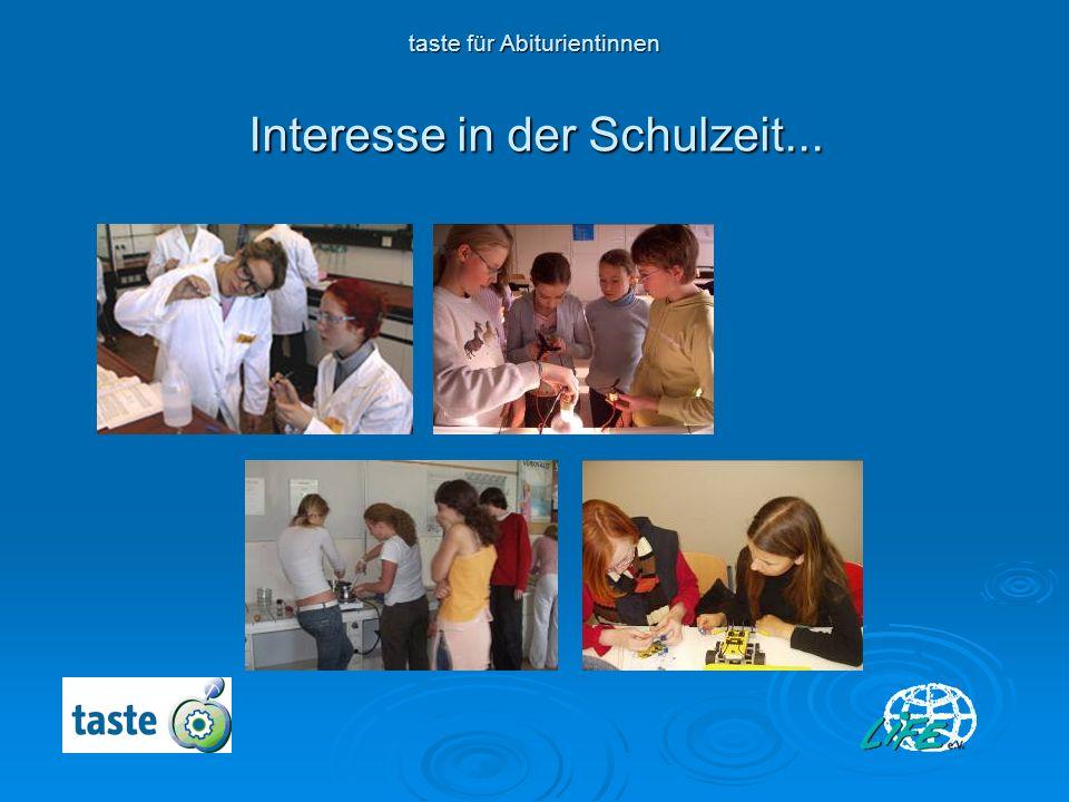 Interesse in der Schulzeit... Interesse in der Schulzeit... taste für Abiturientinnen