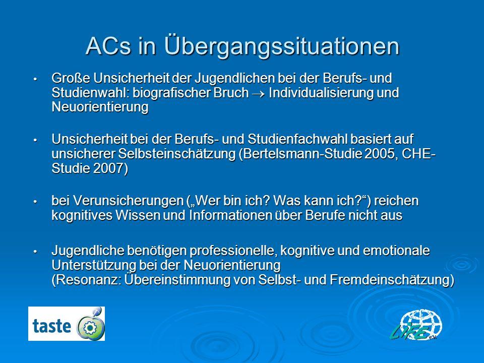 ACs in Übergangssituationen Große Unsicherheit der Jugendlichen bei der Berufs- und Studienwahl: biografischer Bruch Individualisierung und Neuorienti