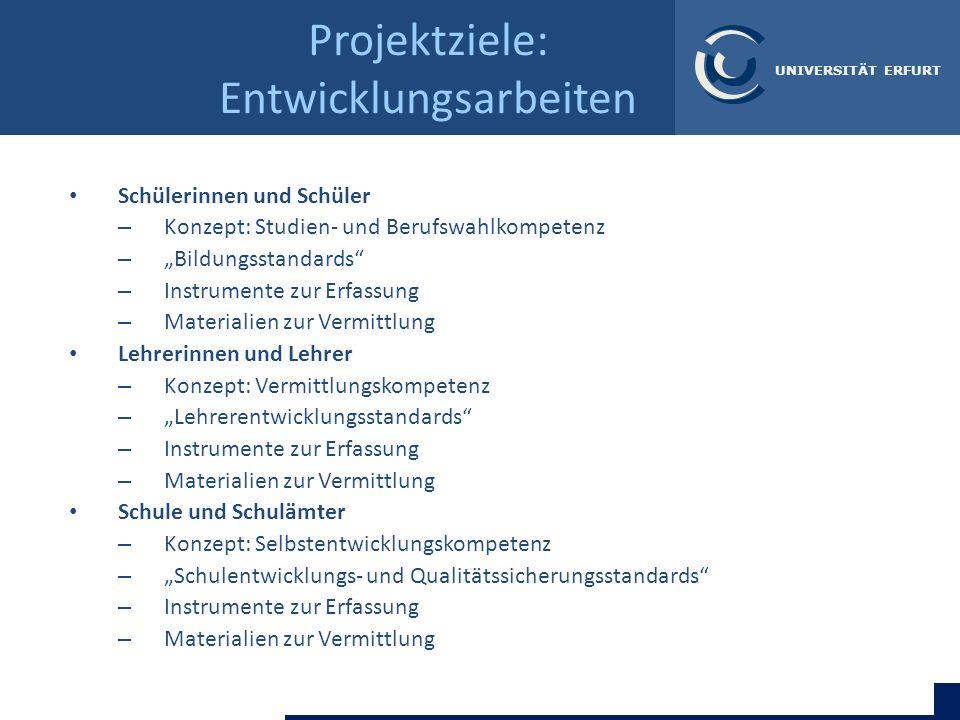 Katja Driesel-Lange & Bärbel Kracke | Universität Erfurt UNIVERSITÄT ERFURT Projektziele: Entwicklungsarbeiten Schülerinnen und Schüler – Konzept: Stu