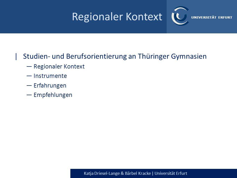 Katja Driesel-Lange & Bärbel Kracke | Universität Erfurt UNIVERSITÄT ERFURT Regionaler Kontext |Studien- und Berufsorientierung an Thüringer Gymnasien