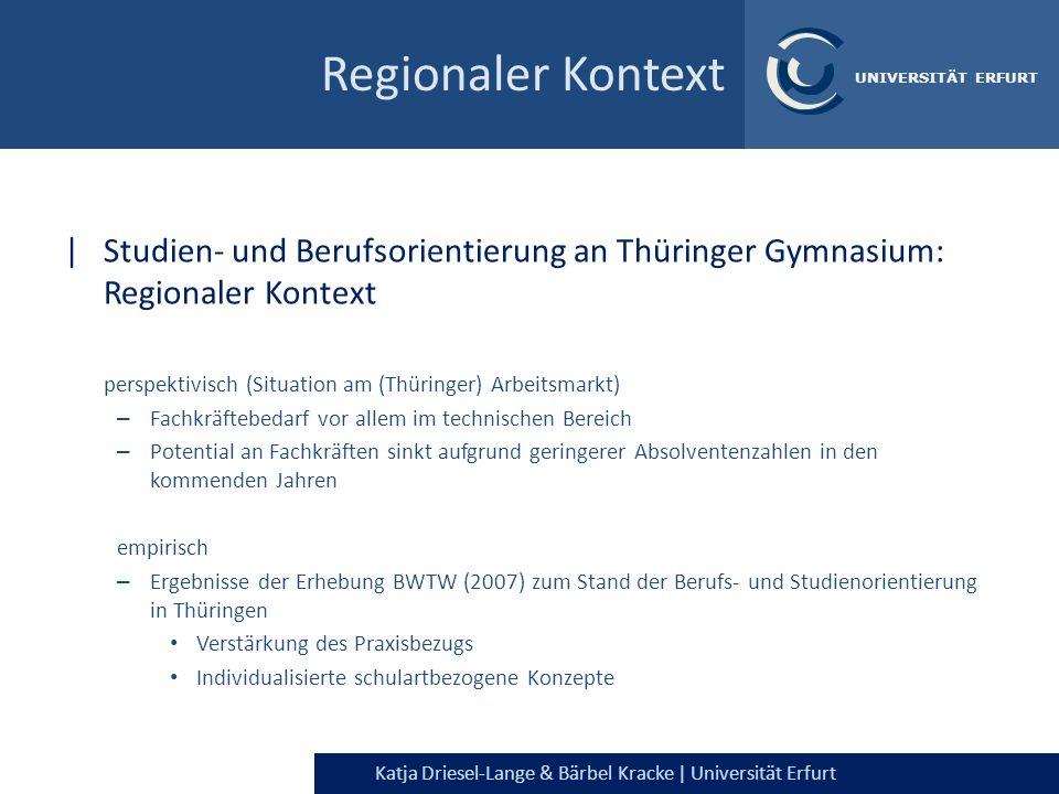 Katja Driesel-Lange & Bärbel Kracke | Universität Erfurt UNIVERSITÄT ERFURT Regionaler Kontext |Studien- und Berufsorientierung an Thüringer Gymnasium