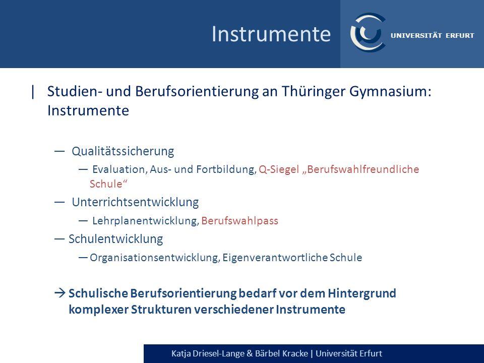 Katja Driesel-Lange & Bärbel Kracke | Universität Erfurt UNIVERSITÄT ERFURT Instrumente |Studien- und Berufsorientierung an Thüringer Gymnasium: Instr