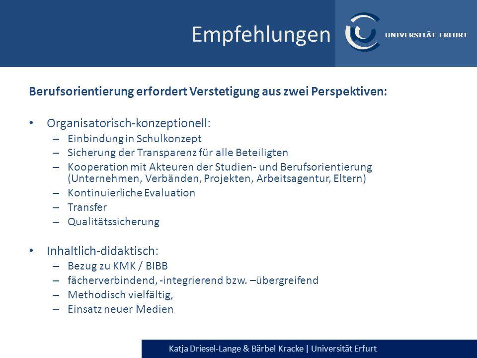 Katja Driesel-Lange & Bärbel Kracke | Universität Erfurt UNIVERSITÄT ERFURT Berufs- orientierung Schaffung sozialräumlicher Strukturen für den individuellen Berufsfindungsprozess WissenHandeln Selbstreflexion Empfehlungen