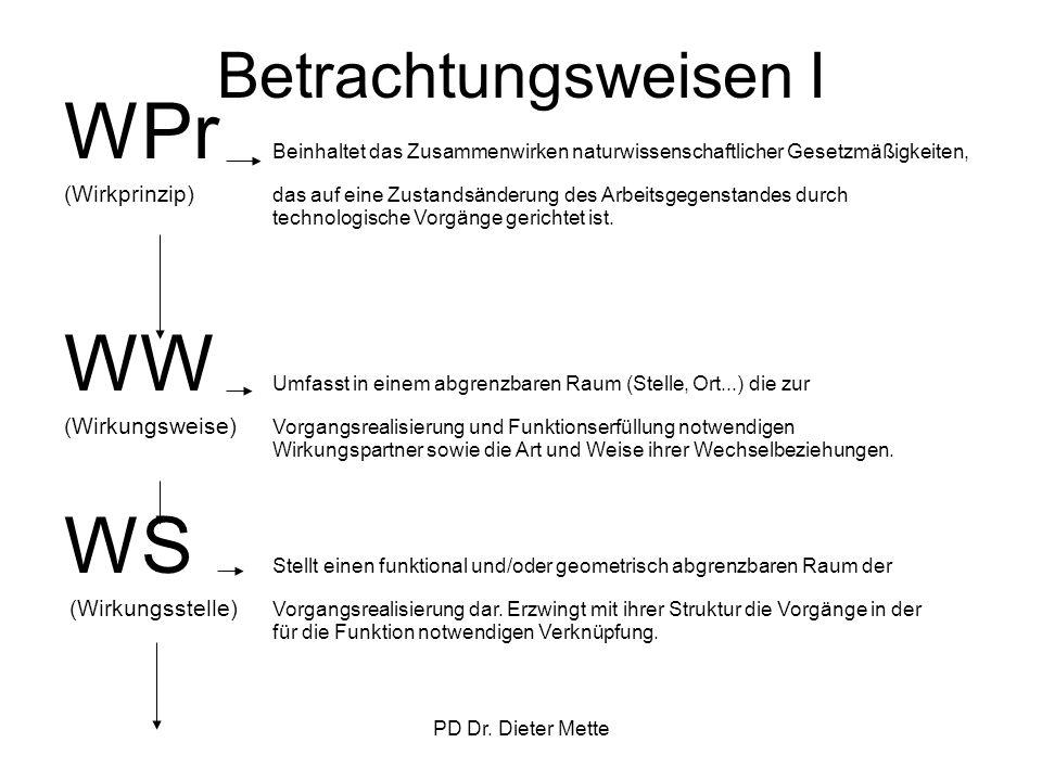 PD Dr. Dieter Mette Betrachtungsweisen I WPr Beinhaltet das Zusammenwirken naturwissenschaftlicher Gesetzmäßigkeiten, (Wirkprinzip) das auf eine Zusta