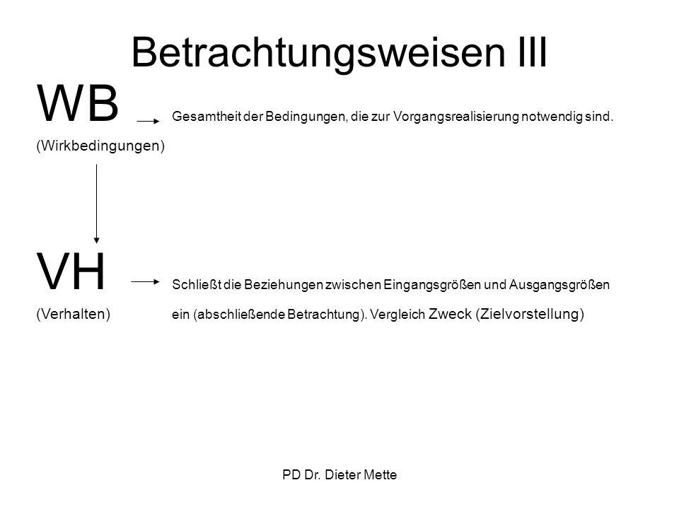 PD Dr. Dieter Mette Betrachtungsweisen III WB Gesamtheit der Bedingungen, die zur Vorgangsrealisierung notwendig sind. (Wirkbedingungen) VH Schließt d