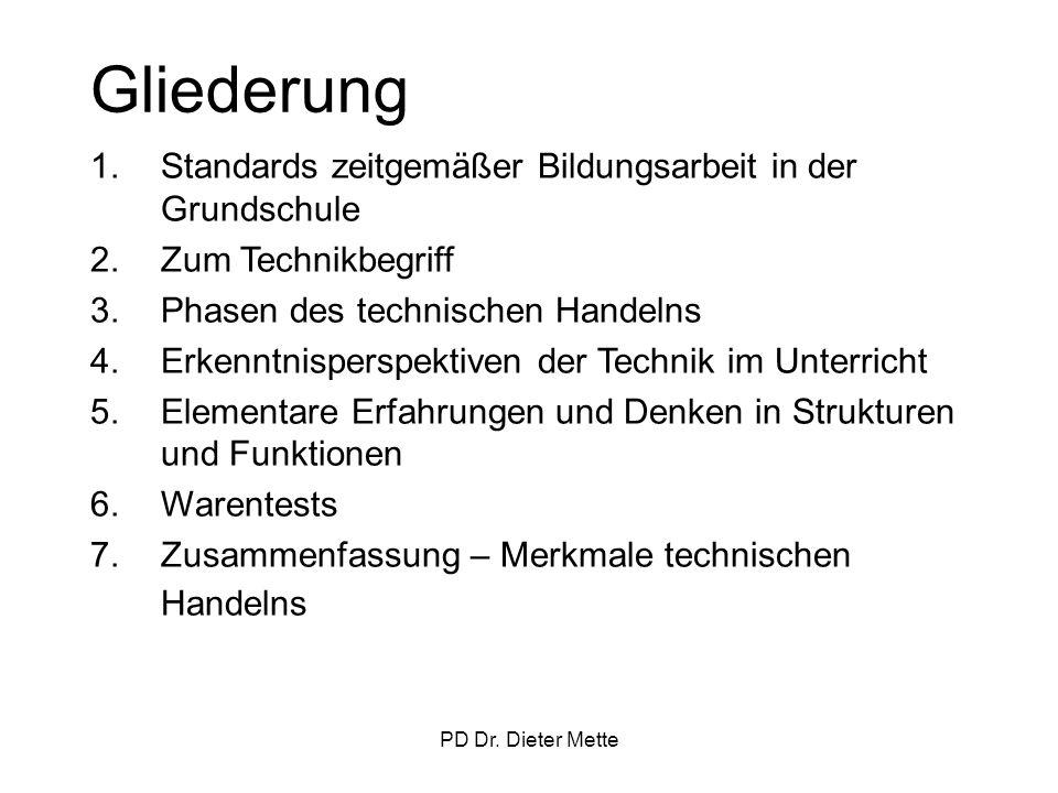 PD Dr. Dieter Mette Gliederung 1.Standards zeitgemäßer Bildungsarbeit in der Grundschule 2.Zum Technikbegriff 3.Phasen des technischen Handelns 4.Erke