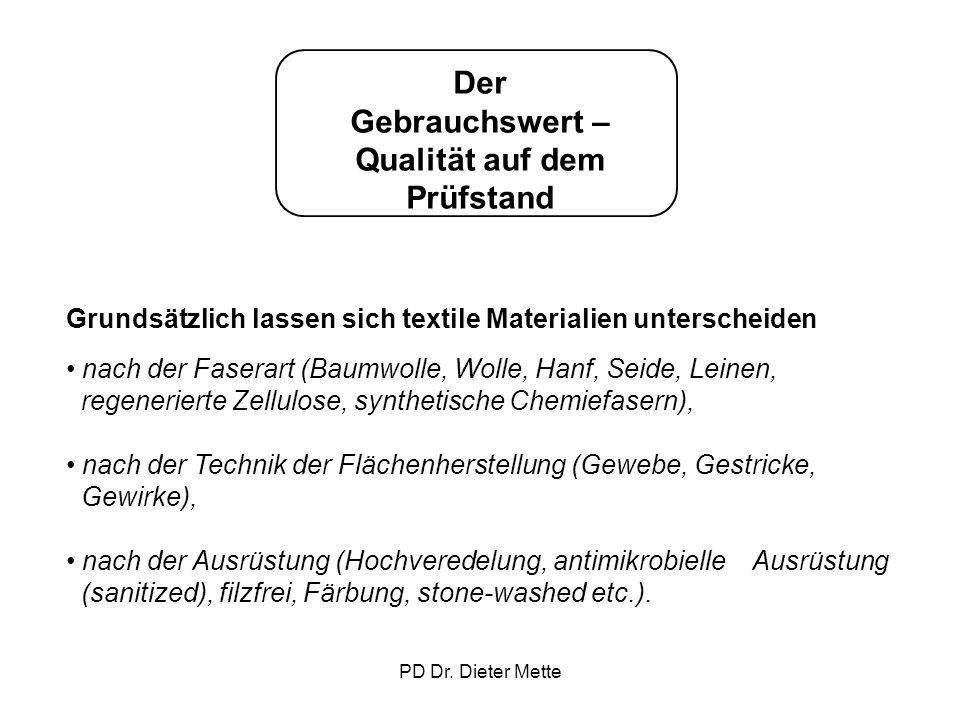 PD Dr. Dieter Mette Der Gebrauchswert – Qualität auf dem Prüfstand Grundsätzlich lassen sich textile Materialien unterscheiden nach der Faserart (Baum