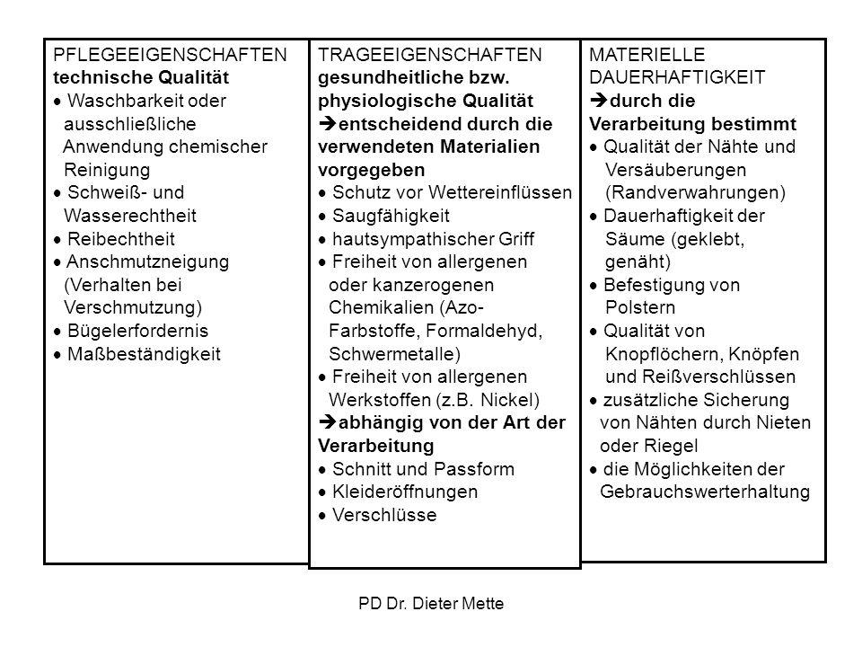 PD Dr. Dieter Mette PFLEGEEIGENSCHAFTEN technische Qualität Waschbarkeit oder ausschließliche Anwendung chemischer Reinigung Schweiß- und Wasserechthe