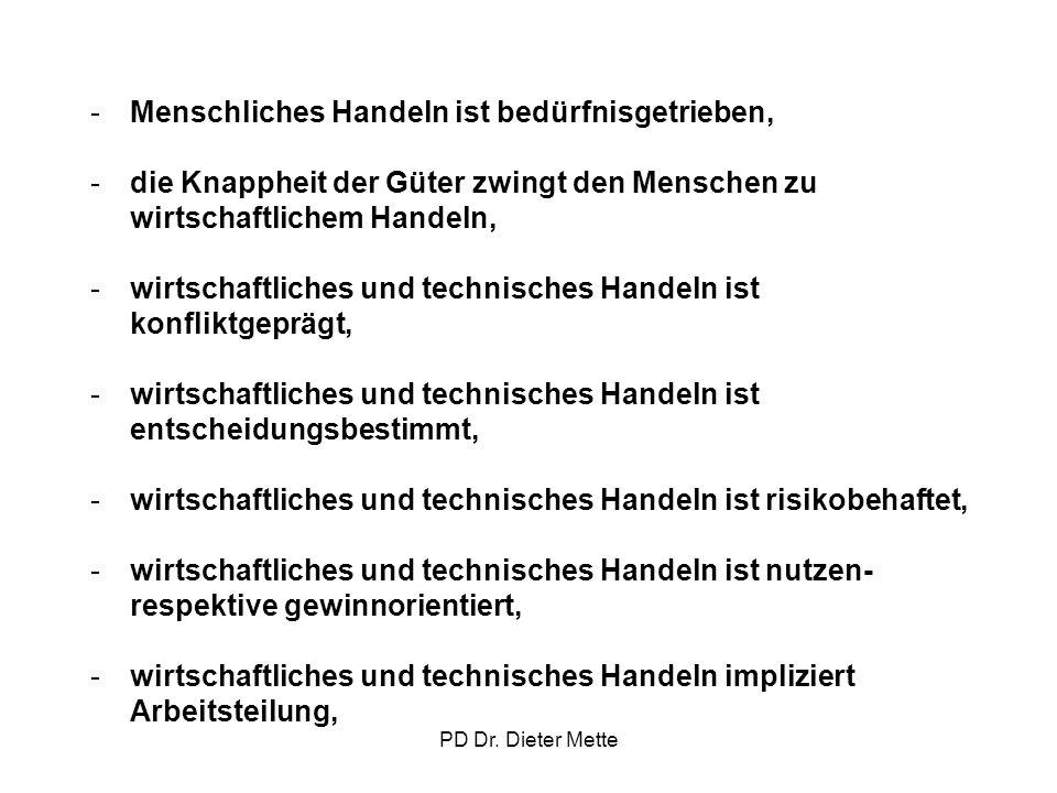 PD Dr. Dieter Mette -Menschliches Handeln ist bedürfnisgetrieben, -die Knappheit der Güter zwingt den Menschen zu wirtschaftlichem Handeln, -wirtschaf