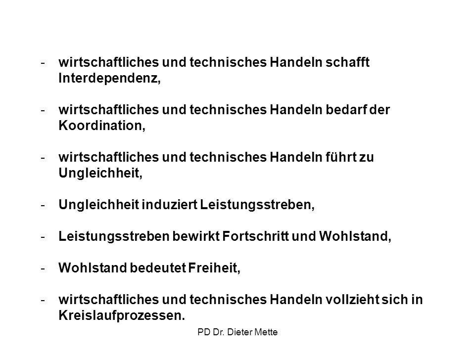 PD Dr. Dieter Mette -wirtschaftliches und technisches Handeln schafft Interdependenz, -wirtschaftliches und technisches Handeln bedarf der Koordinatio