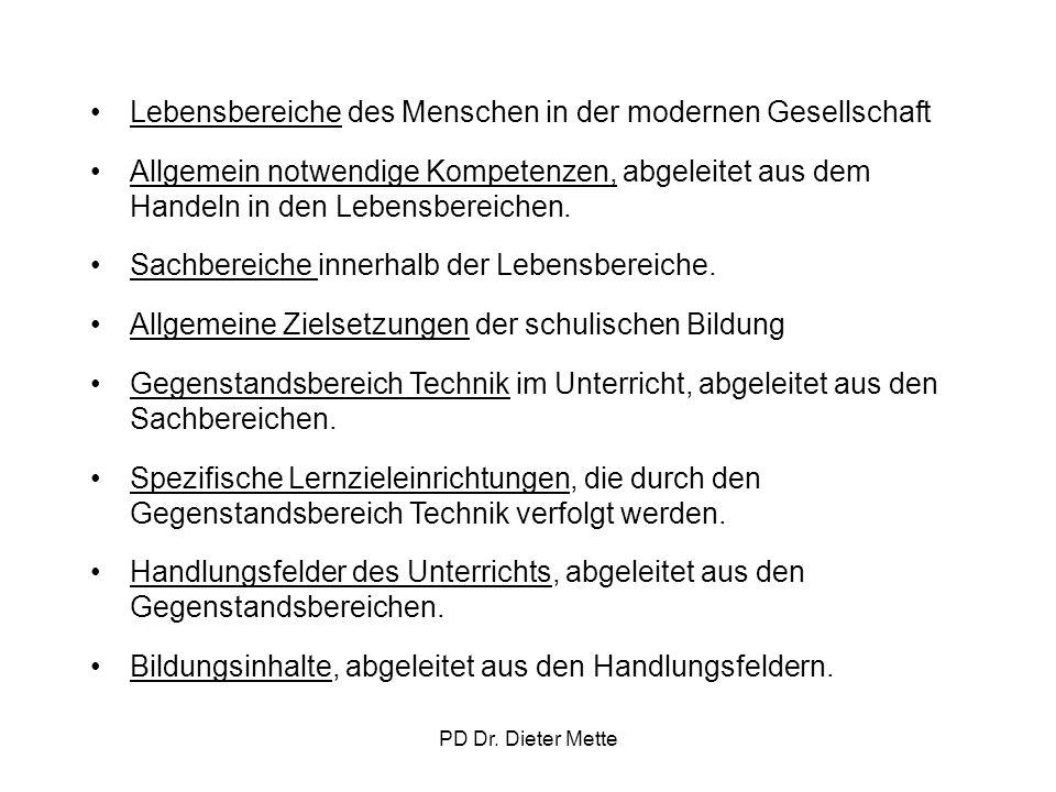 PD Dr. Dieter Mette Lebensbereiche des Menschen in der modernen Gesellschaft Allgemein notwendige Kompetenzen, abgeleitet aus dem Handeln in den Leben