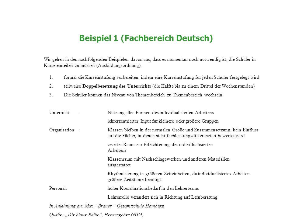 Beispiel 1 (Fachbereich Deutsch) Wir gehen in den nachfolgenden Beispielen davon aus, dass es momentan noch notwendig ist, die Schüler in Kurse einteilen zu müssen (Ausbildungsordnung).