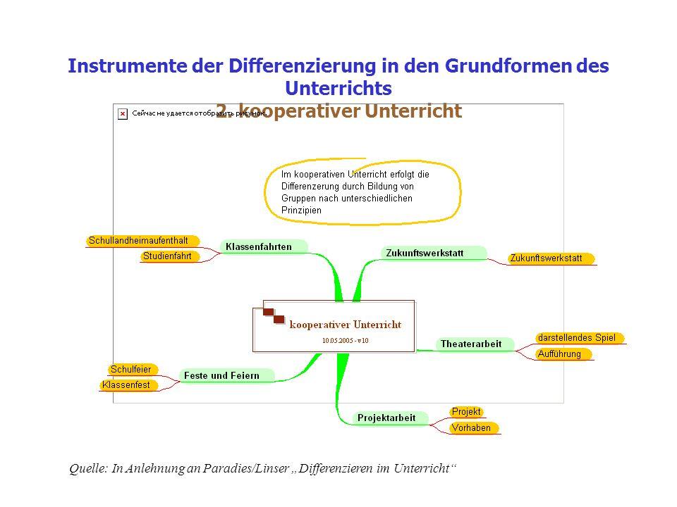 Instrumente der Differenzierung in den Grundformen des Unterrichts 2.