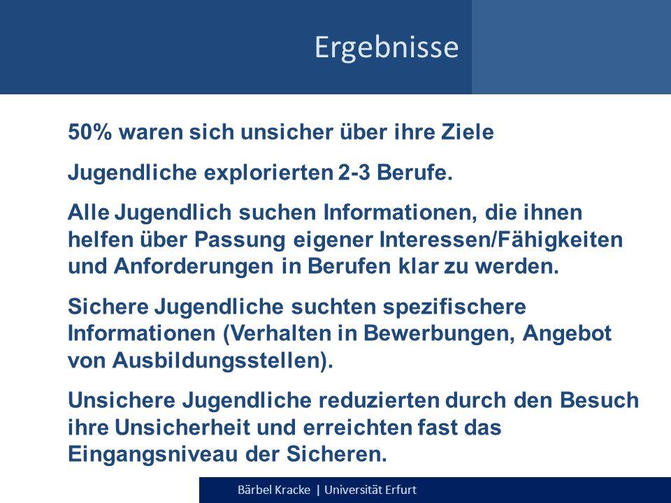 Bärbel Kracke | Universität Erfurt Ergebnisse 50% waren sich unsicher über ihre Ziele Jugendliche explorierten 2-3 Berufe. Alle Jugendlich suchen Info