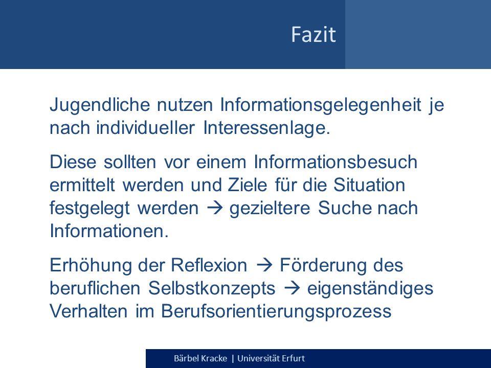 Bärbel Kracke | Universität Erfurt Fazit Jugendliche nutzen Informationsgelegenheit je nach individueller Interessenlage. Diese sollten vor einem Info