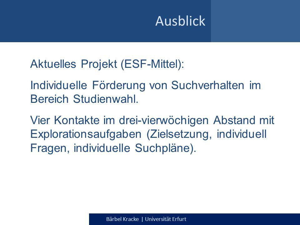 Bärbel Kracke | Universität Erfurt Ausblick Aktuelles Projekt (ESF-Mittel): Individuelle Förderung von Suchverhalten im Bereich Studienwahl. Vier Kont
