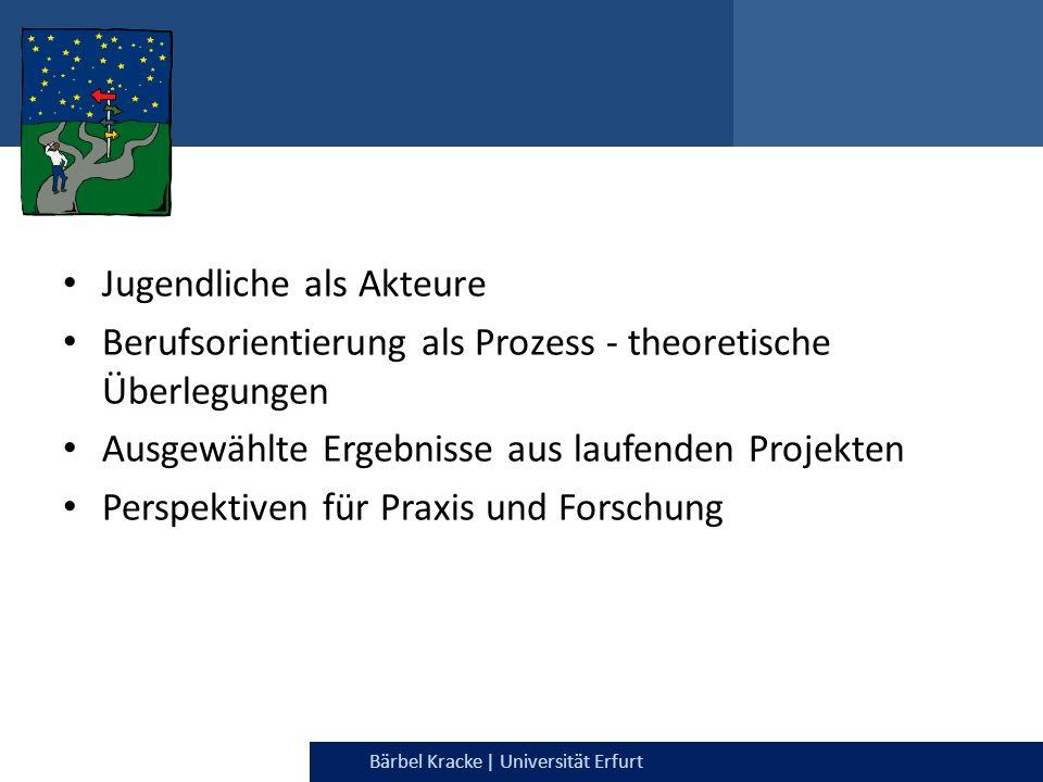Julia Dietrich & Bärbel Kracke | Universität ErfurtBärbel Kracke | Universität Erfurt Jugendliche als Akteure Berufsorientierung als Prozess - theoret
