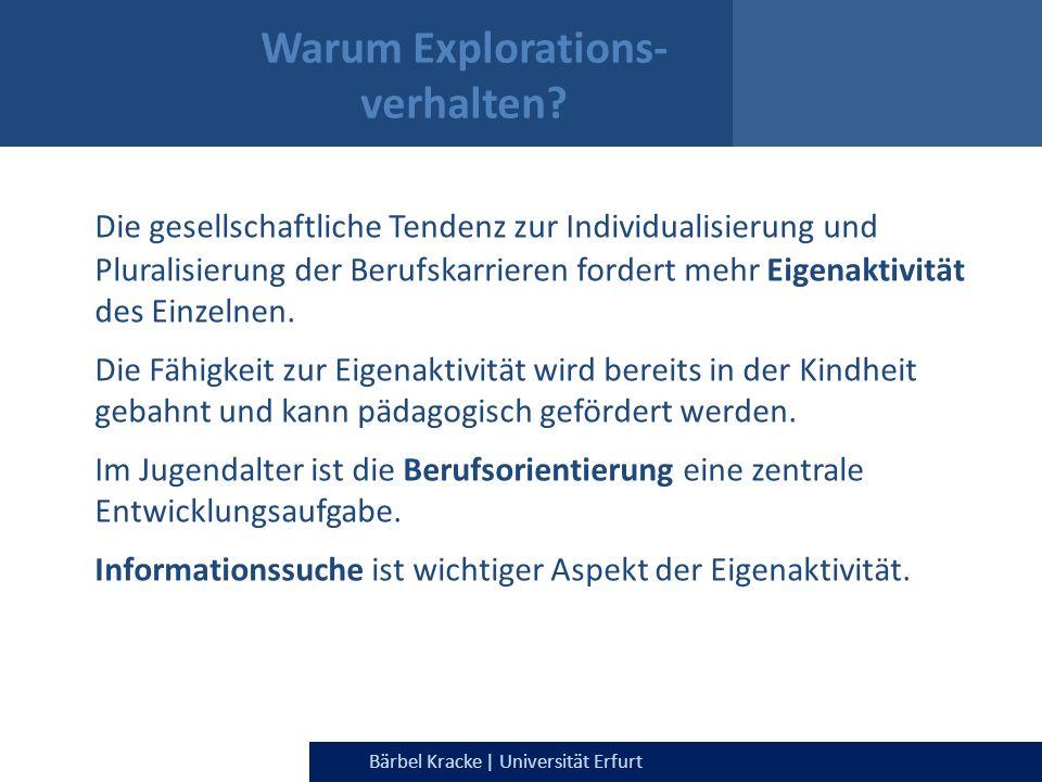 Julia Dietrich & Bärbel Kracke | Universität ErfurtBärbel Kracke | Universität Erfurt Warum Explorations- verhalten? Die gesellschaftliche Tendenz zur