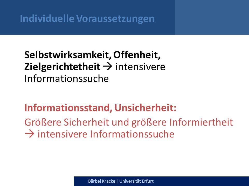 Julia Dietrich & Bärbel Kracke | Universität ErfurtBärbel Kracke | Universität Erfurt Individuelle Voraussetzungen Selbstwirksamkeit, Offenheit, Zielg