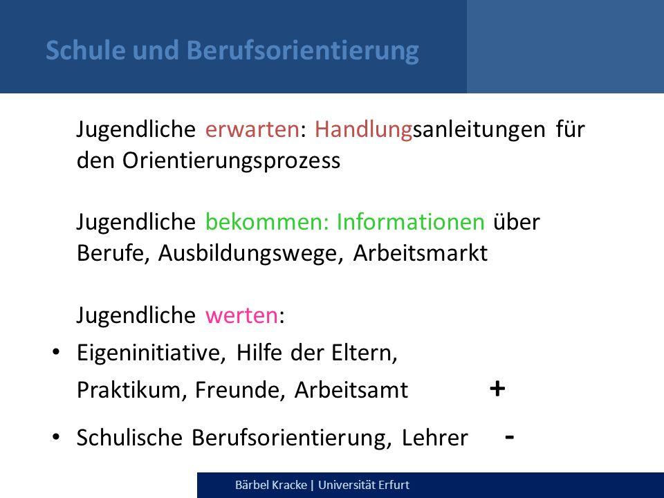 Julia Dietrich & Bärbel Kracke | Universität ErfurtBärbel Kracke | Universität Erfurt Schule und Berufsorientierung Jugendliche erwarten: Handlungsanl