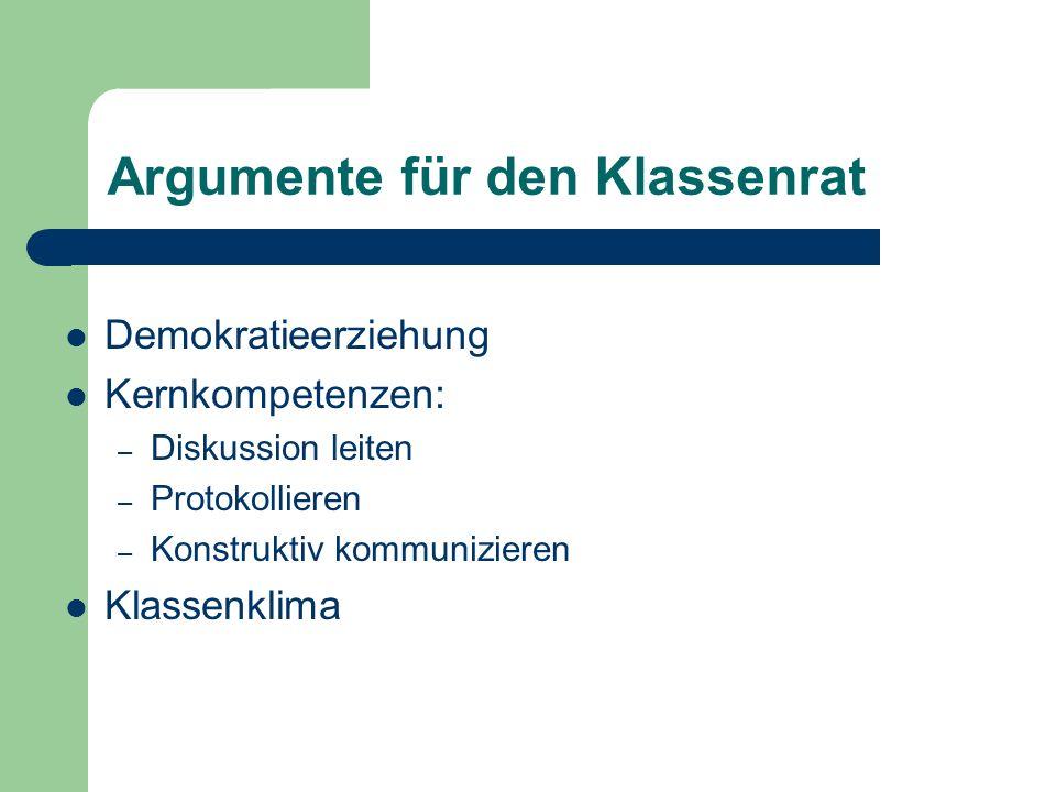 Argumente für den Klassenrat Demokratieerziehung Kernkompetenzen: – Diskussion leiten – Protokollieren – Konstruktiv kommunizieren Klassenklima