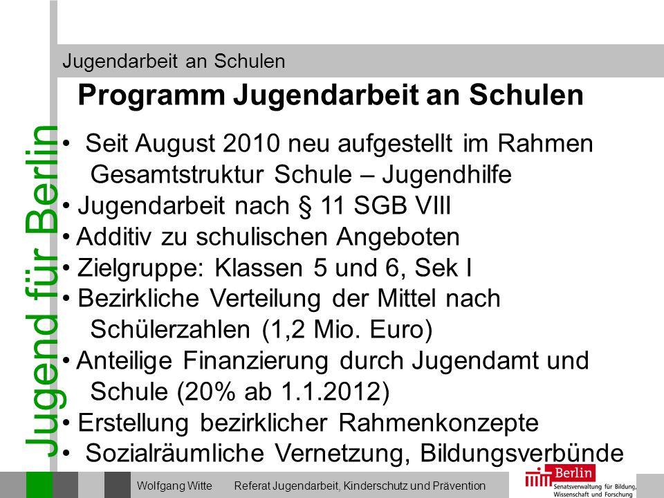 Jugend für Berlin Jugendarbeit an Schulen Wolfgang Witte Referat Jugendarbeit, Kinderschutz und Prävention Programm Jugendarbeit an Schulen Seit Augus