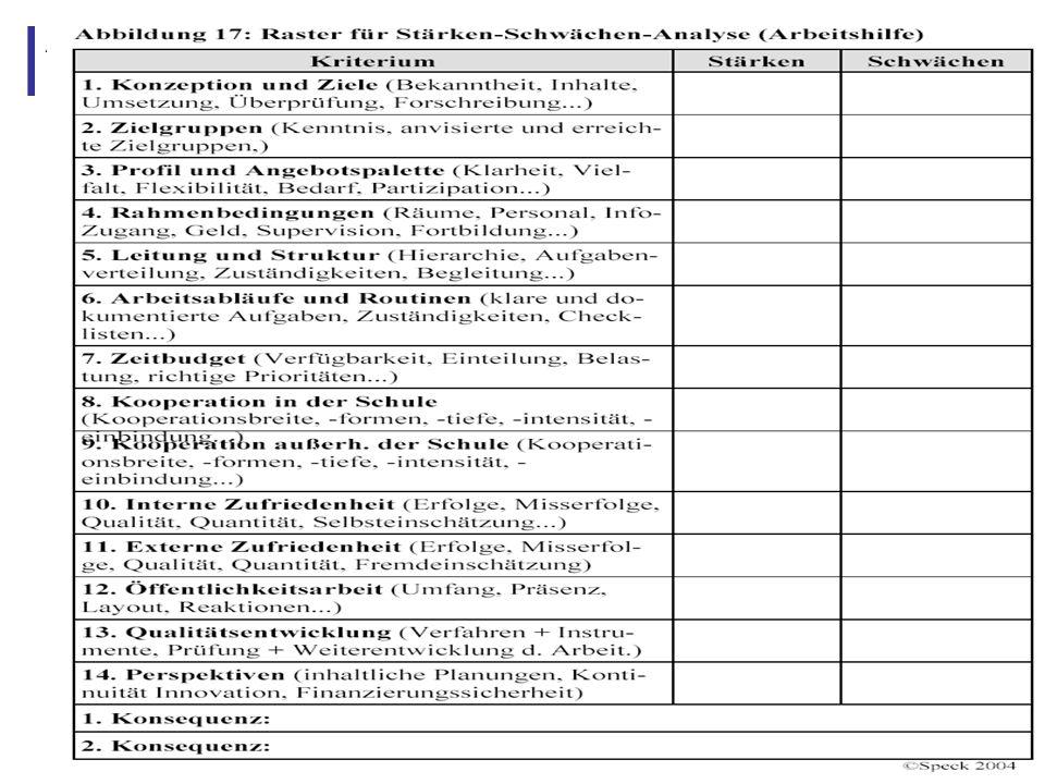 Abbildung 27: 4.5 Anforderungen an ein systematisches Verfahren zur Qualitätsentwicklung und Selbstevaluation Verfahren muss zumindest Lösungsansätze bieten für Konkretisierung und Aushandlung von Zielen, den Schutz der Sozialarbeiter vor überhöhten Erwartungen, die Reflexion der Rahmenbedingungen, die fehlerfreundliche Analyse des sozialpädagogischen Handelns Verfahren sollte in den Arbeitsalltag der Sozialarbeiter integrierbar sein, sollte kommunikative, reflexive und evaluative Bestandteile enthalten und den ganzen Arbeitsbereich umfassen