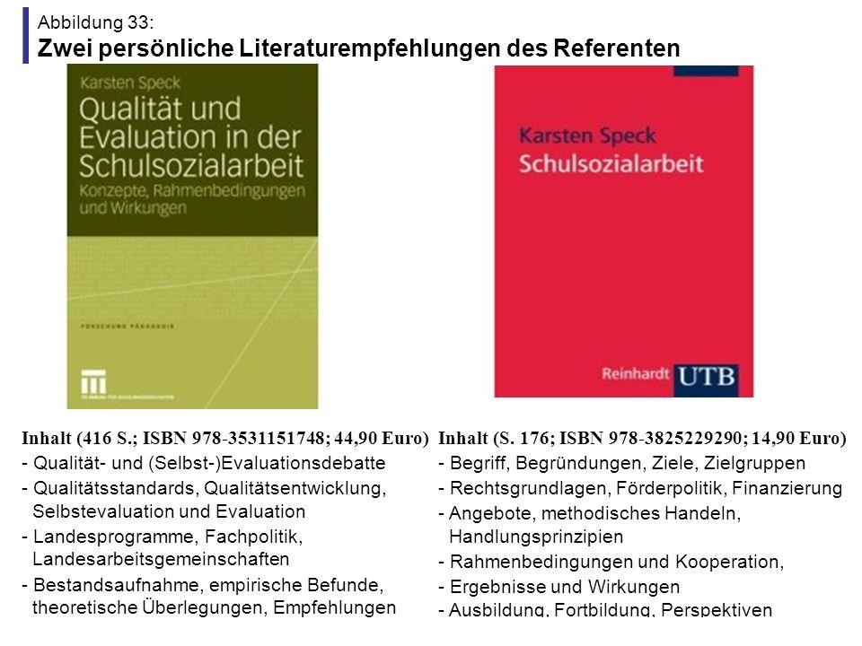 Abbildung 33: Zwei persönliche Literaturempfehlungen des Referenten Inhalt (416 S.; ISBN 978-3531151748; 44,90 Euro) - Qualität- und (Selbst-)Evaluati