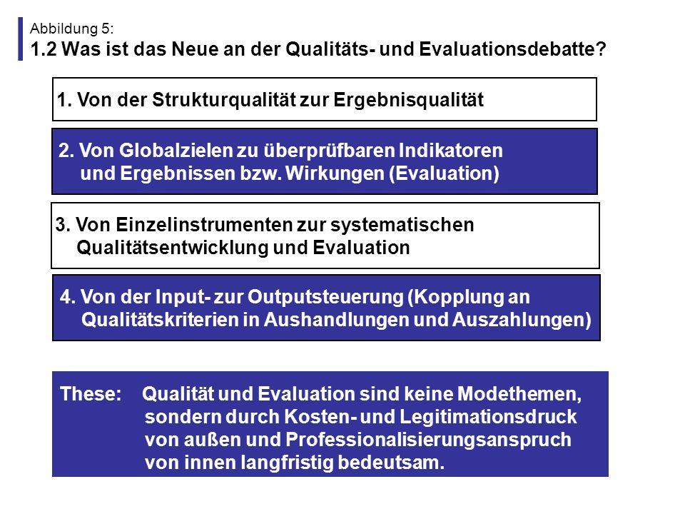 Abbildung 6: 1.3 Ausgangslage für die Qualitäts- und Evaluationsdebatte in der Schulsozialarbeit (Besonderheiten der Schulsozialarbeit) Sozialarbeiter als Einzelkämpfer in fachfremder Organisation tätig, fehlendes Profil von Schulsozialarbeit mit klaren und konsensfähigen Begründungen, Wirkungszielen oder gar Indikatoren, diffuse, überhöhte und sich zum Teil widersprechende Erwartungen zwischen den Akteuren von zwei wenig passfähigen Organisationen schlechte Rahmenbedingungen (z.B.