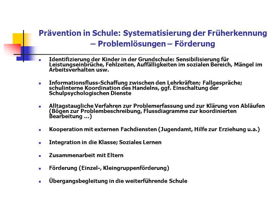 Prävention in Schule: Systematisierung der Früherkennung – Problemlösungen – Förderung Identifizierung der Kinder in der Grundschule: Sensibilisierung